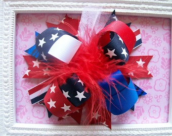 4th of July--- Hair Bow---Full Size 5.5 Inches Funky Fun Over the Top Bow