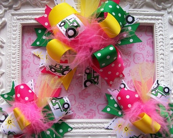 Hair Bows---Over the Top 3 Piece Hair Bow Set---Tractor Cutie--- 1 Large Hair Bow, 2 smaller Hair Bows