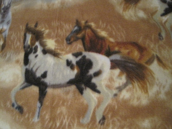Horse Running in the Grasses with Brown Couch Throw Blanket