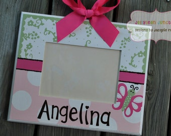Handpainted and Personalized Picture Frame - DAINTY BUTTERFLY - Large Hanging Frame