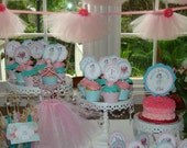 Vintage Ballerina Ballet Shabby Chic Cupcake Toppers Set of 15