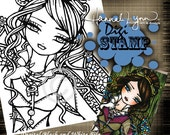 PRINTABLE Digi Stamp Stained Glass Steampunk Fairy Coloring Page Fun Fantasy Art Hannah Lynn