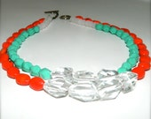 Double Strand Mint Green and Bright Red Necklace