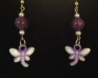 Light and Dark Purple Butterfly Earrings