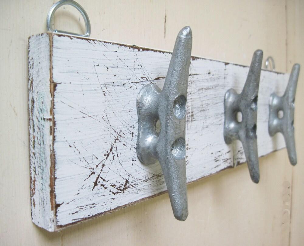 Boat Cleat Key Rack Distressed White Nautical