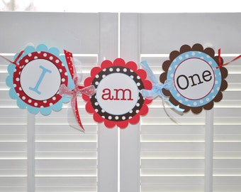 Boys 1st Birthday Highchair Banner - Red, Brown and Blue, Polkadots - Personalized Birthday Decorations