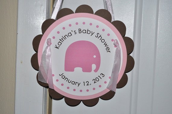 Girls baby shower door sign baby shower decorations for Baby shower door decoration