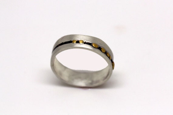 Unique silver and gold wedding ring modern silver band for men or women 22k gold dots band