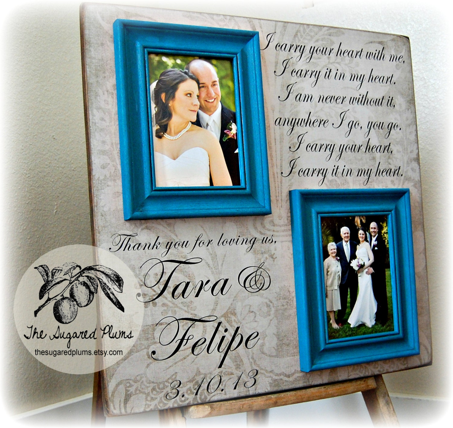 Parents Thank You Gift Personalized Picture Frame Wedding