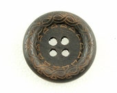 Wholesale Wood Buttons - Beautiful Swirls Decorative Domed Border Cascading Recessed Center Brown Wooden Buttons, 1.38 inch (50 in a set)
