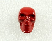 Wholesale - Skull Metal Buttons - 30 Hot Red Skull Solid Metal Shank Button. 0.59 inch.