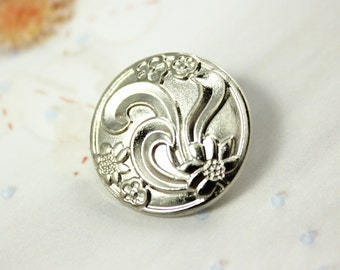 Metal Buttons - Ribbon Art Flower Metal Buttons , Shiny Silver Color , Shank , 0.79 inch , 10 pcs