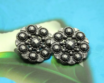 Metal Buttons - Beads Flower Metal Buttons , Nickel Silver Color , Openwork , Shank , 0.71 inch , 10 pcs