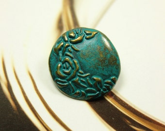 Metal Buttons - Cyan Crescent Flower Metal Buttons , Antique Brass Color , Shank , 0.71 inch , 10 pcs