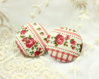 Rose Flower Ribbon Pattern Fabric Buttons,1.18 inch.  (6 in a set)