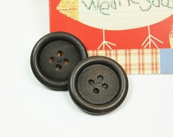 Wood Buttons - Classy Thick Border Recessed Center Dark Brown Wooden Buttons, 0.91 inch (10 in a set)