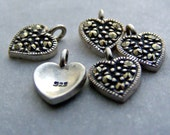 Sterling Silver Heart Charm with Marcasite - Sterling Silver Tiny Heart Charm with Marcasite Qty.1