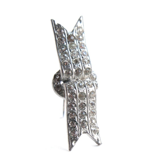 Vintage art deco rhinestone brooch 1930s geometric silver for Art deco costume jewelry