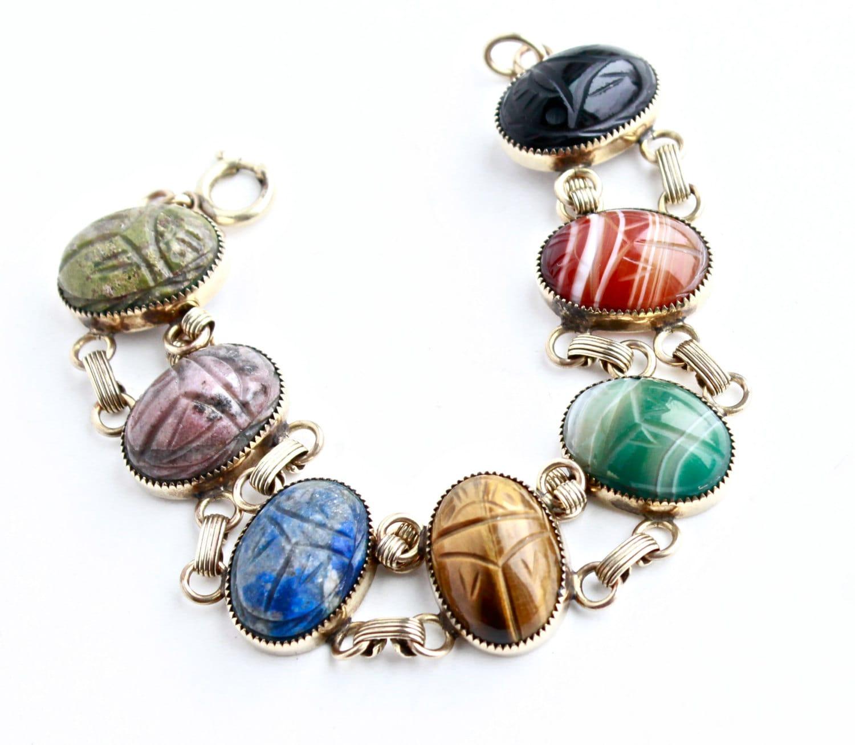Vintage Gold Filled Semi Precious Stone Scarab Bracelet Huge
