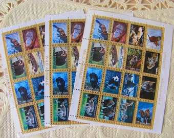 Animal Collection 36 Vintage Postage Stamps 1970s Wild Animals Ajman State Mammals Natural History Monkey Panda Tiger Camel Worldwide Post