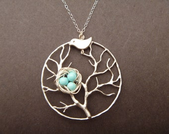 Family Tree Necklace - Birds Nest - Mother Bird - Silver - Pendant Charm - 1 2 3 4 egg - Mommy Necklace - Mothers Day Gift - femmart