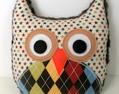 Logan (Multi Argyle and Stars and Brown Minky Owl Pillow) minky owl