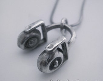 Sterling Silver Pendant DJ Headphones