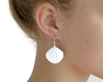 White: Statement Earrings PALLA - made of corrugated cardboard