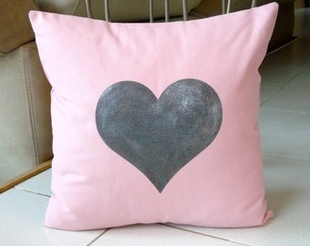 Big Silver Heart Pillow Case -  Hand Painted on Baby Pink Cotton Canvas Pillow Cover - 18x18 Pillow Cover