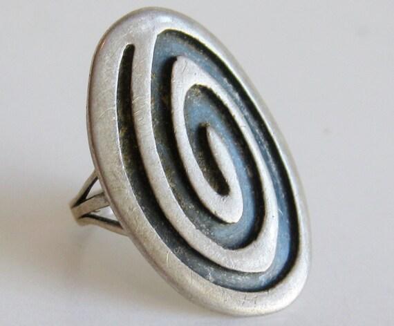 vintage ring hopi indian sterling silver overlay swirl ring