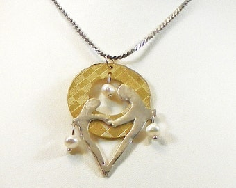 Sterling Silver Heart Pendant, Brass Necklace with Pearls Valentines Heart