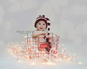 Newborn Elf Hat - Photography Prop - Newborn Photo Prop - Baby Elf Hat - Holiday Prop - Unisex Baby Hat - Candy Cane Hat - Long Tail Hat