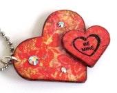 Valentine Heart Keychain Red Double Hearts Stamped Heart Valentine Key Chain