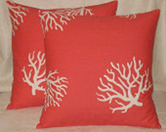 Two 20 x 20 Summer Coral Pillow Covers