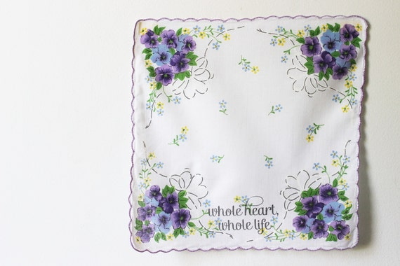 "Wedding Handkerchief , Hanky. Purple Vintage Style Floral with Message ""whole heart, whole life""  By Merriweather Council on Etsy"