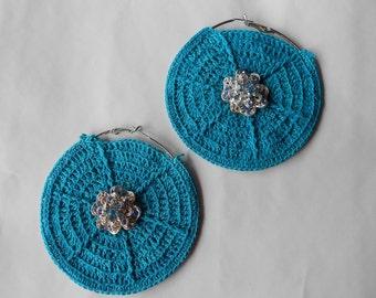 Turquoise Crochet Hoop Earrings-Crochet Earrings-Blue Crystals-Hoop Earrings