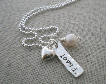 loved. pendant with heart and pearl - sterling silver hand stamped loved necklace, wedding gift, anniversary necklace