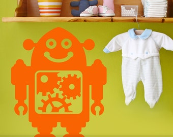 Childrens Wall Decal Robot Art, Geekery Wall Decal for Baby Nursery, Kids Bedroom Decor, Robot Party Decorations (0171b0v-exp)