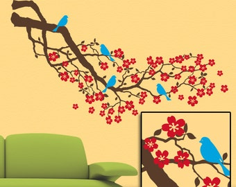 Red Cherry Blossoms Wall Decal, Wall Decal Tree Branch, Home Decor Floral Tree Branch with Bluebird for Country Decor (0176a6v-rc)