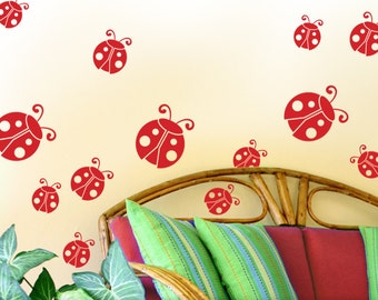 Ladybugs Nature Vinyl Decals for Wall Pattern: Add to your Polka Dot Wall Decor, Use for Laptop Stickers or Party Decorations (0174c)