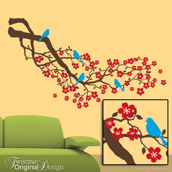 Wall Decal Tree Branch | Red Cherry Blossoms Vinyl Wall Decal | Home Decor Floral Tree Branch with Bluebirds for Country Decor
