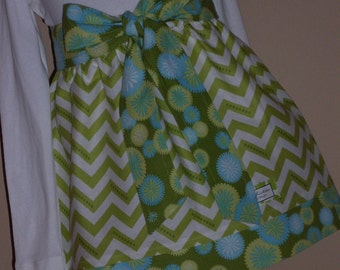Buy Any 2 Skirts and Get 1 FREE, Lime Green Chevron with Dots Skirt, Size 2, 3, 4, 5, 6, 7, 8, 9, 10, and 12