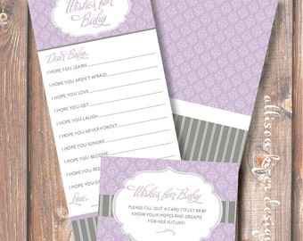 Printable Baby Shower Game - Lavender Baby Wishes Florence Purple & Gray Wishes for Baby Baby Girl Lace - INSTANT DOWLOAD