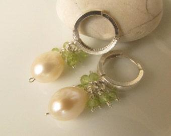 Freshwater Pearl and Peridot Sterling Silver Small Hoop Earrings, Gemstone Earrings, White Pearl Earrings, Hoops