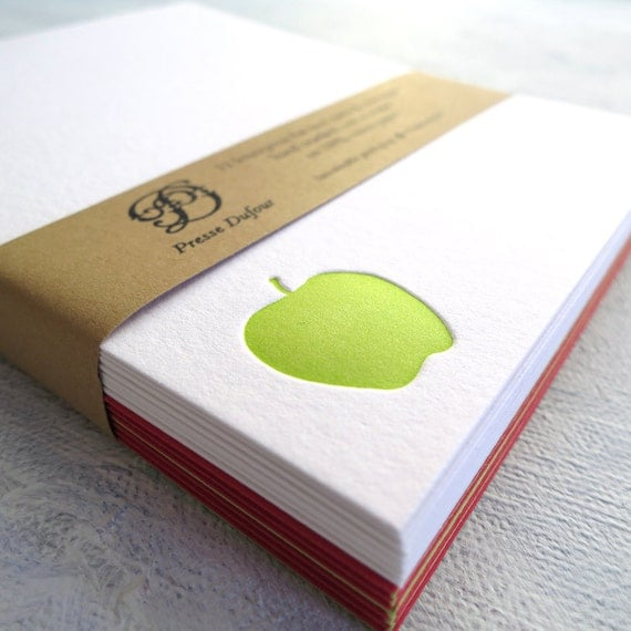 Letterpress Apple Note Cards - Set of 12