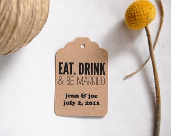 Eat, Drink & Be Married - Block Personalized favor tags