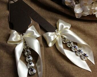 Crystal Engraveable Wedding Cake Server Set Elegant Wedding Cake Cutting Set Ivory Wedding Cake Cutter Set Crystal Handles