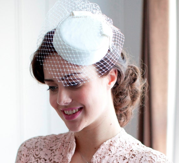 Ivory Pillbox Hat With Birdcage Veil 1950s1960s Style In