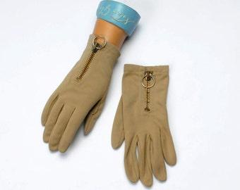 Vintage Tan Gloves with Zipper Women's Sz XS-S