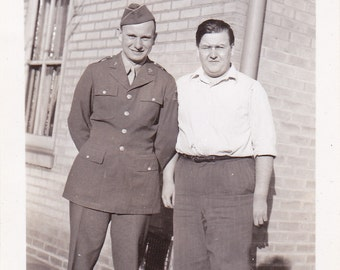 Soldier and Dad - Vintage Photograph (A)
